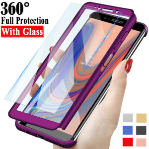For-Samsung-Galaxy-J4-J6-Plus-J8-J3-J5-J7-Pro-Full-Cover-Case-Tempered-Glass