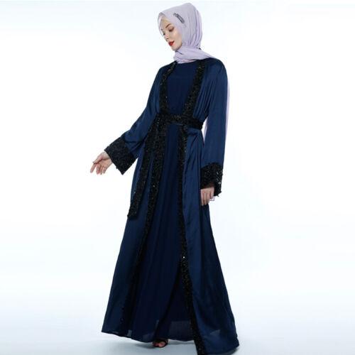 Dubai Abaya Kaftan Open Cardigan Jilbab Women Long Muslim Maxi Dress Kimono Robe