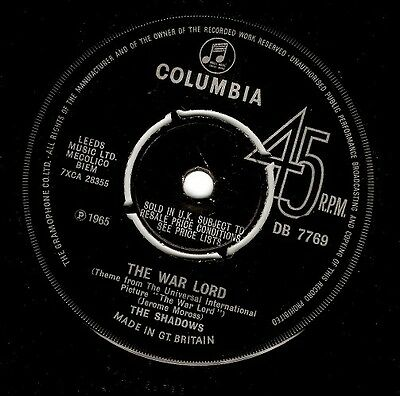 THE SHADOWS The War Lord Vinyl Record 7 Inch Columbia DB 7769 1965