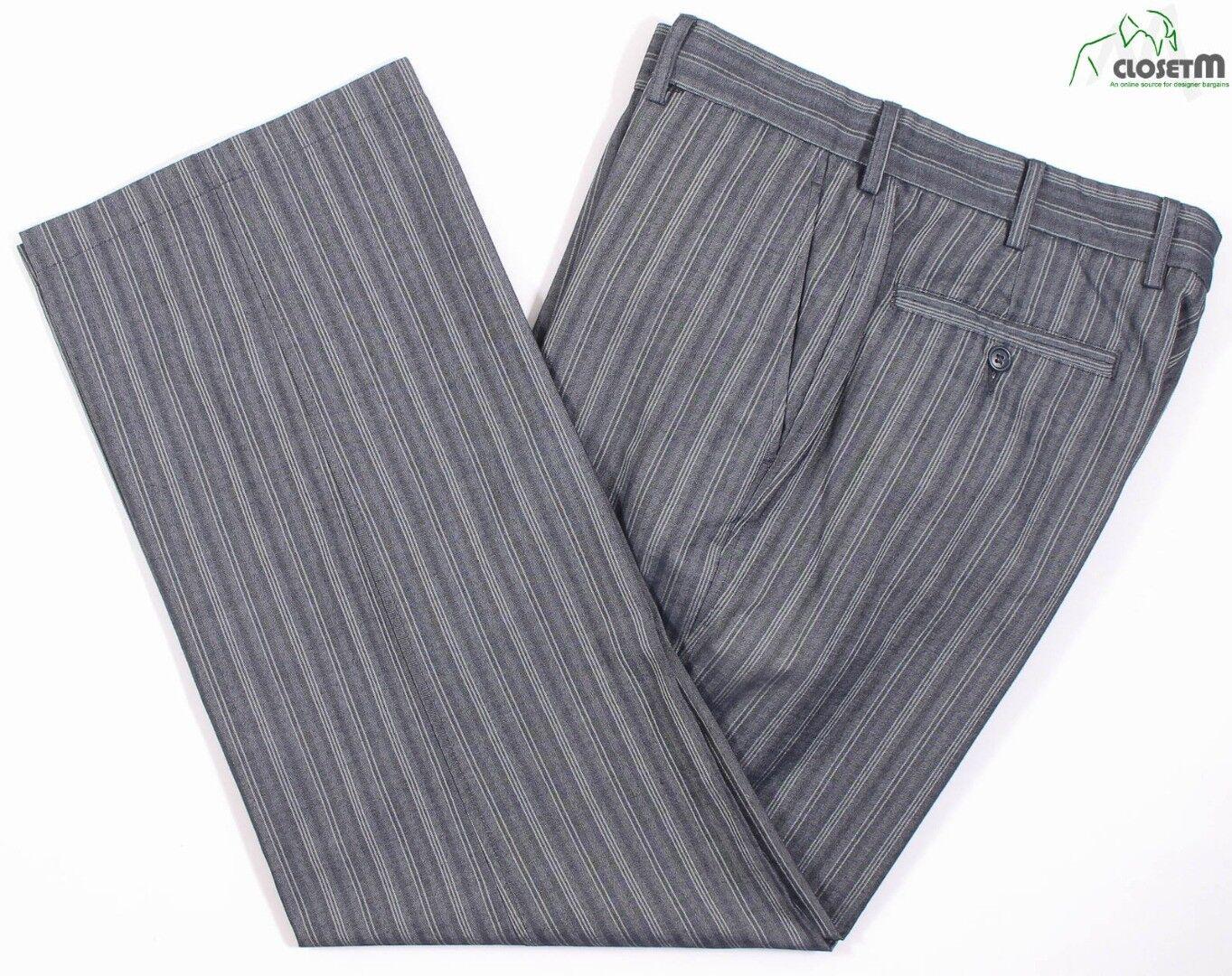 Faconnable Blu Grigio a Righe Herringbone Weave Misto Cotone Pantaloni Estivi