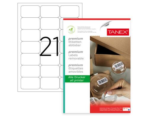 TANEX TW-2021 Wiederablösbare Etiketten 63,5x38,1 mm weiß 25 Bl 525 Etiketten