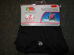 GIRLS-SIZE-SMALL-6-6X-BLACK-THERMAL-UNDERWEAR-SET-NWT-100-POLYESTER