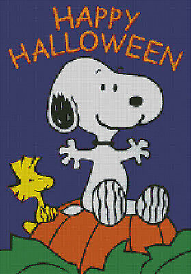 Cross stitch chart, pattern, Snoopy, Woodstock Halloween ...