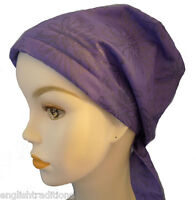 Cancer Hat Turban Chemo Head Wrap Bad Hair Day Purple Floral 100% Cotton Scarves