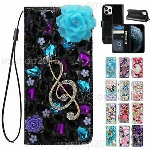 Women Girls Luxury Leather Flip Bling Wallet Stand Phone Cases With Lanyards 1