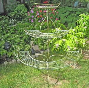 3-Tier-Plant-Stand-Wrought-Iron-Antique-Mint-Green-Finish