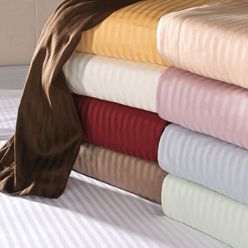 Home Linen Bedding Items 1000TC Egyptian Cotton UK Single Size Only Strip Colors