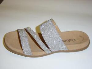 Gabor-Best-Fitting-Pantoletten-silber-Rips-Groesse-38-Sandaletten