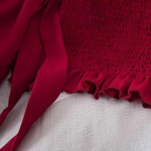 Donna ragazza elastico aderente Crop Top Off Svasatura manica Lolita T-shirt Charm
