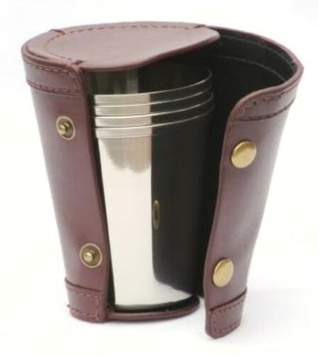 4 Stacking Hunting Stirrup Cups in Leather Case NEW