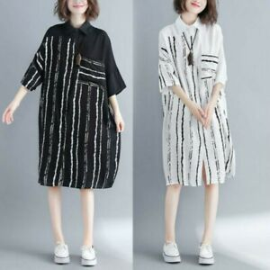 Women-Cotton-Long-Shirt-Dress-Striped-Blouse-Casual-Loose-Oversized-Midi-Fashion