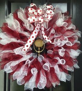image is loading christmas wreath candy cane maroon and white deco