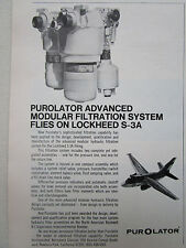 10/1972 PUB PUROLATOR MODULAR FILTRATION SYSTEM LOCKHEED S-3A VIKING ORIGINAL AD