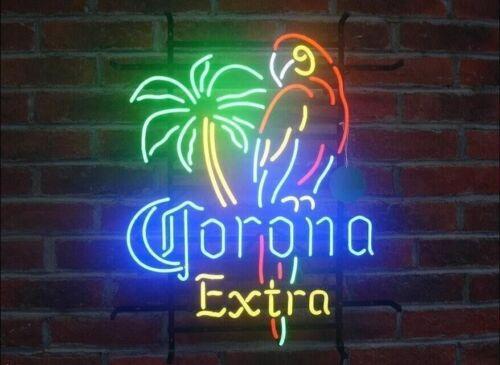 "New Corona Extra Parrot Bird Left Palm Tree Beer Neon Sign 20/""x16/"""