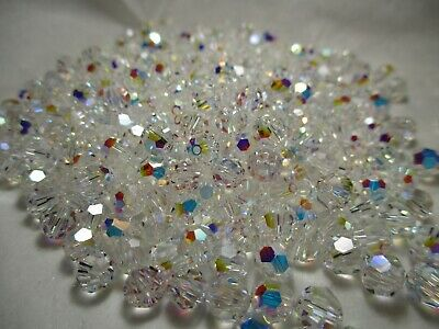 5x faceted glass crystal beads 10x10mm ~PEACHY PINK