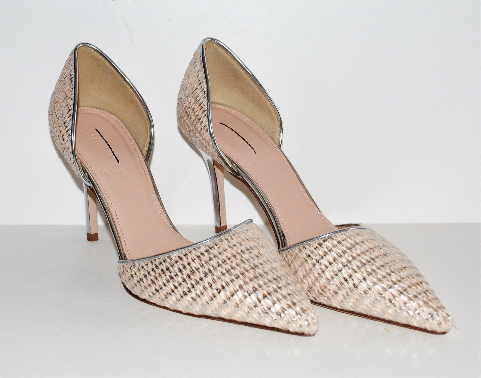 J.Crew Elsie Metallic Woven d'Orsay Pumps Heels  F1299 Ecru Silver 6.5  298