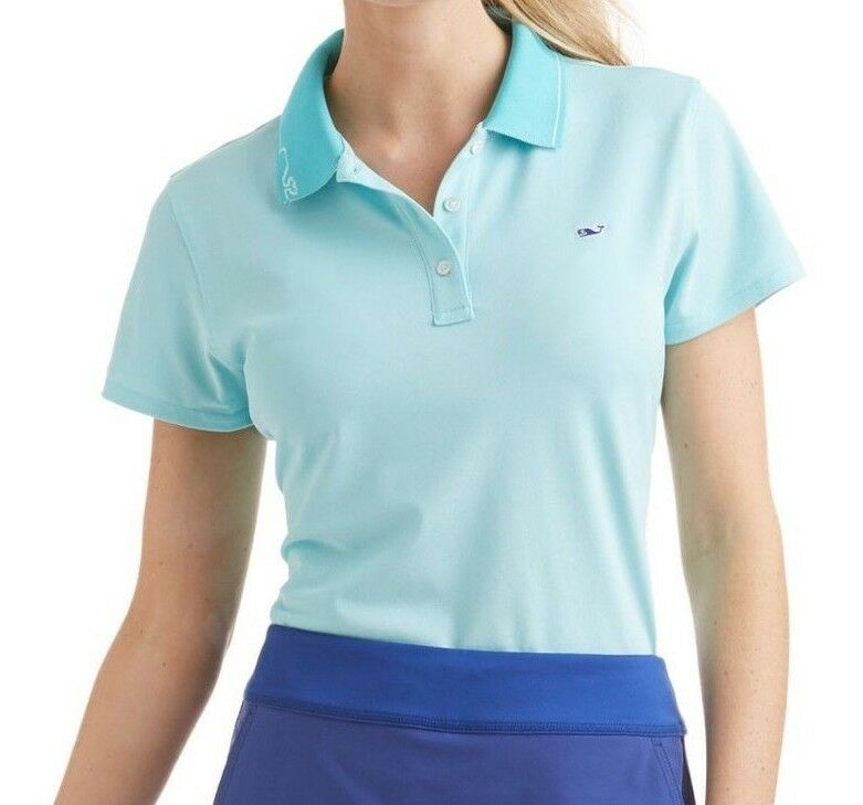 85 NWT VINEYARD VINES SzM PERFORMANCE PIQUE POLO SHORT SLEEVE TOP IN TURQUOISE