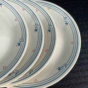 4 Corning Ware Corelle Dinner Plates COUNTRY VIOLETS Red Dots Blue Flowers Ivory