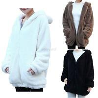 Women Girls Winter Loose Cute Bear Ear Hoodie Hooded Jacket Warm Outerwear Coat