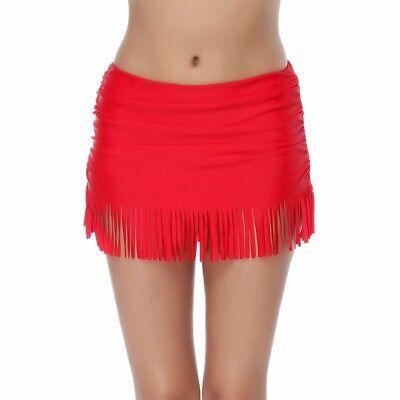 Methodisch Red Tassle Slimming Tummy Control Swimskirt Skirted Pantskirt Bikini Bottoms