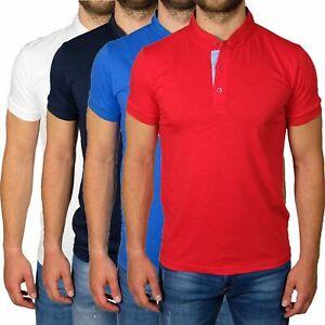Polo-Uomo-Manica-Corta-Slim-Fit-T-shirt-Cotone-Collo-Coreana-Maglia-Maglietta