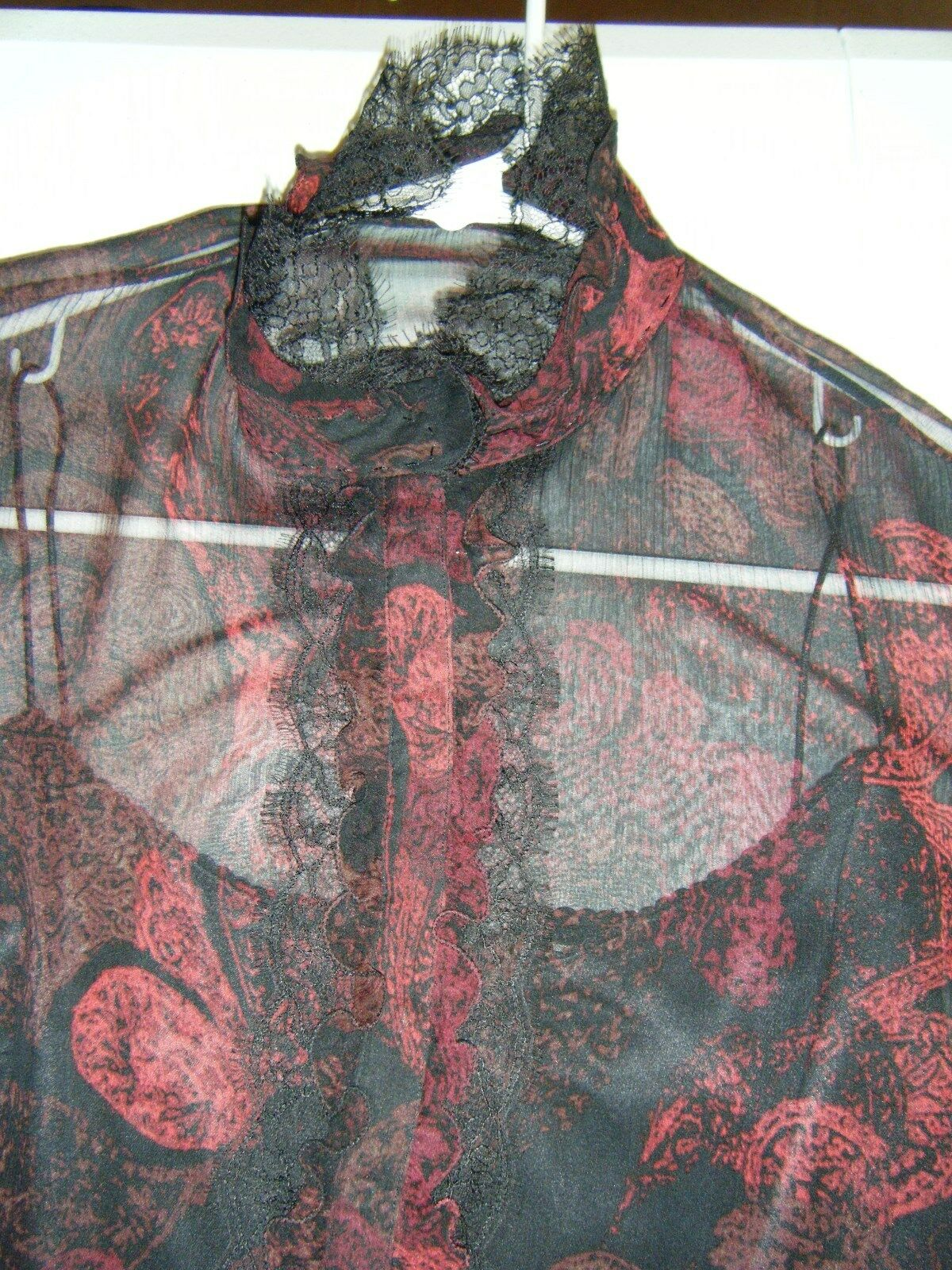 ELIE TAHARI SMALL BLACK RED SILK BLOUSE WITH BLAC… - image 5