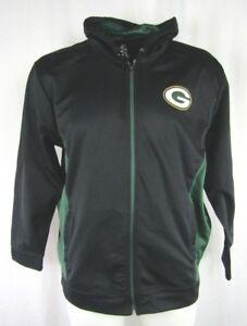 Green-Bay-Packers-Men-039-s-Black-Majestic-Full-Zip-Hooded-Sweatshirt-NFL-L-2XL