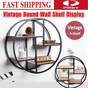 Industrial Style Metal Wall Storage Shelf Round Wall Display Rack Home Decor AU