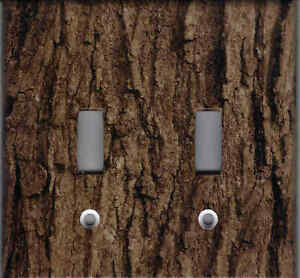 Tree Bark Print Rustic Cabin Home Wall Decor Double Light