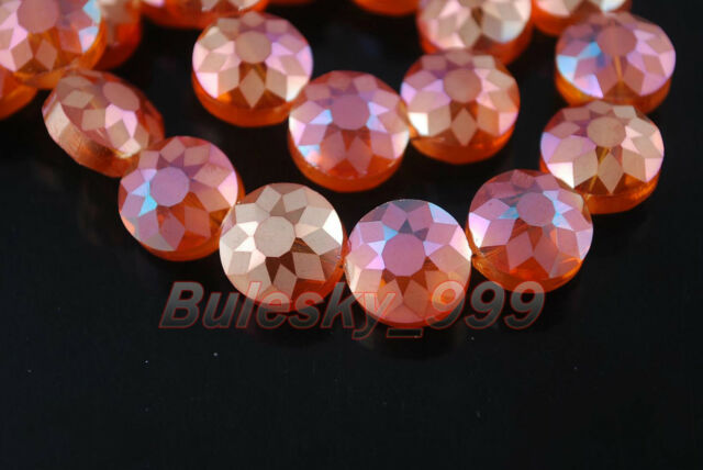 30 Polish Style Charms Carve Crystal Flying Saucer Spacer Findng Beads14x9mm New