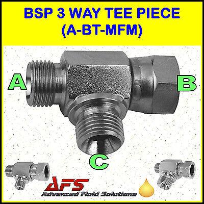 Hydraulic Steel 3-Way BSP T Piece Fitting CHOICE OF CONFIG. & Cross Hyd Adaptor