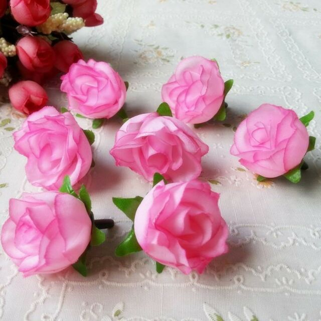 100pcs Rose Artificial Silk Flower Heads Wedding decoration Craft optional color