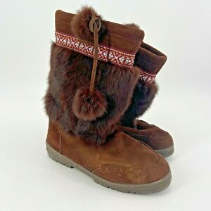 Minnetonka-Leather-Suede-Rabbit-Fur-Brown-Boots-Women-039-s-Size-8