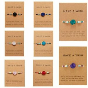 Make-a-Wish-Natural-Stone-Charm-Braided-Rope-Bracelet-Friendship-Card-Fashion