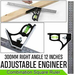 """300 mm (12"""") Réglable Ingénieurs Combinaison équerre Set angle droit souverain Royaume-Uni"""