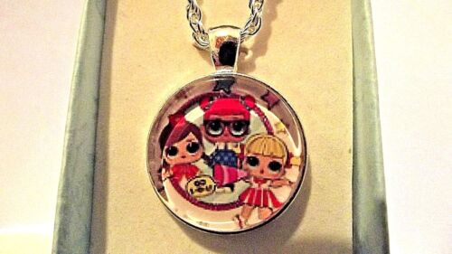 LOL SURPRISE PHOTO CHAIN 20 INCH  NECKLACE SILVER PLATED GIFT BOX,BIRTHDAY PARTY