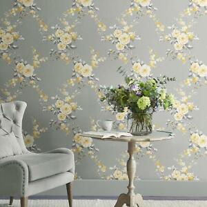 Catherine-Lansfield-muriva-Papier-Peint-Fleur-Gris-Ochre-165502