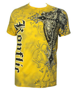 Konflic-NWT-Men-039-s-Giant-Cross-Graphic-Designer-MMA-Muscle-T-shirt