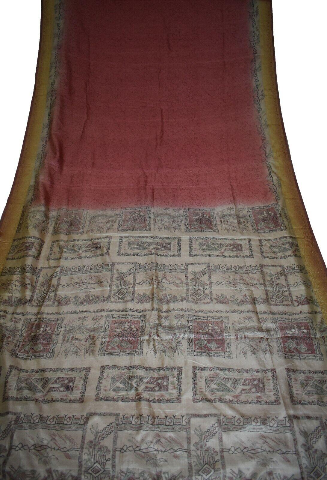 Vintage Printed Sari Brown Pure Silk Floral Print 5Yrd Saree Design CraftPR-6068