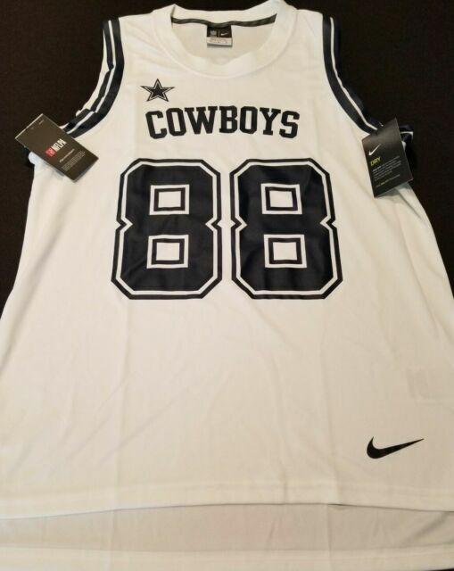 Nike Men's Large White Blue Dallas Cowboys #88 Dez Bryant NFL Basketball Jersey