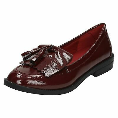 uk availability outlet online stable quality Spot On F8R0117 Ladies Burgundy Crinkle Patent Loafers (R25B) | eBay