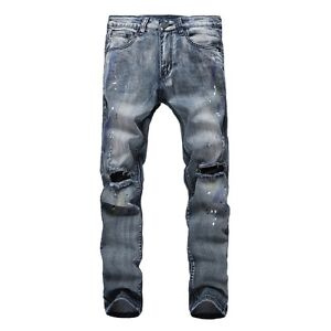 New-Men-039-s-Fashion-Straight-Biker-Jeans-Pants-Skinny-Denim-Ripped-Trousers-Blue