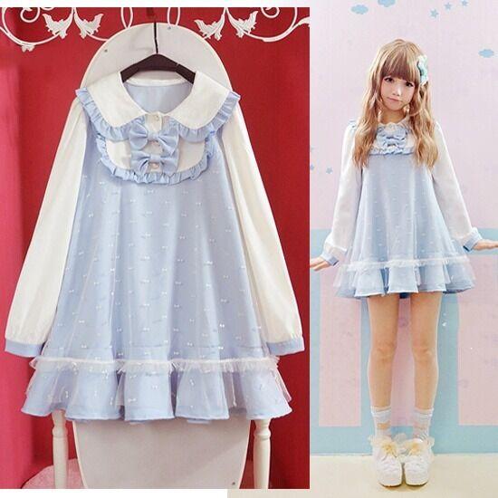 Super Cute Girls Lolita Dress Double Layers Bowknots Long Sleeve Sky Blue Kawaii
