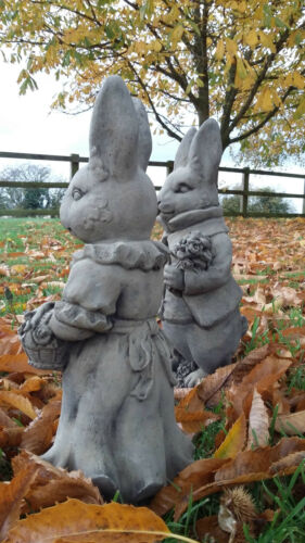 HARE ORNAMENTS MR AND MRS BUNNY STONE GARDEN PAIR OF WEDDING RABBITS