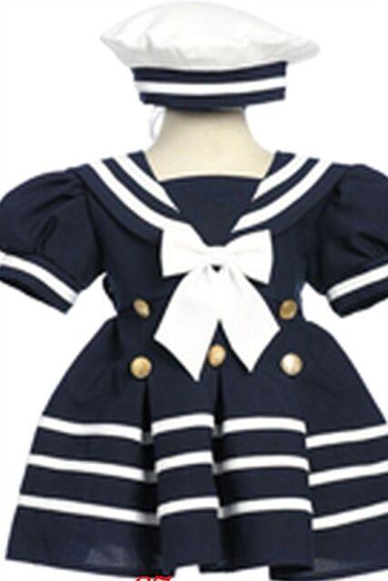 NAVY WHITE SAILOR NAUTICAL BABY TODDLER DRESS SIZE 6MO 12MO 18MO 24MO 2T 3T 4T
