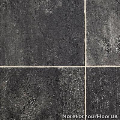 3.8mm Thick Vinyl Flooring Realistic Stone Effect Lino Kitchen CHEAP