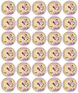 Minnie Mouse 1st Birthday Cupcake Toppers Edible Paper BUY 2 GET 3RD