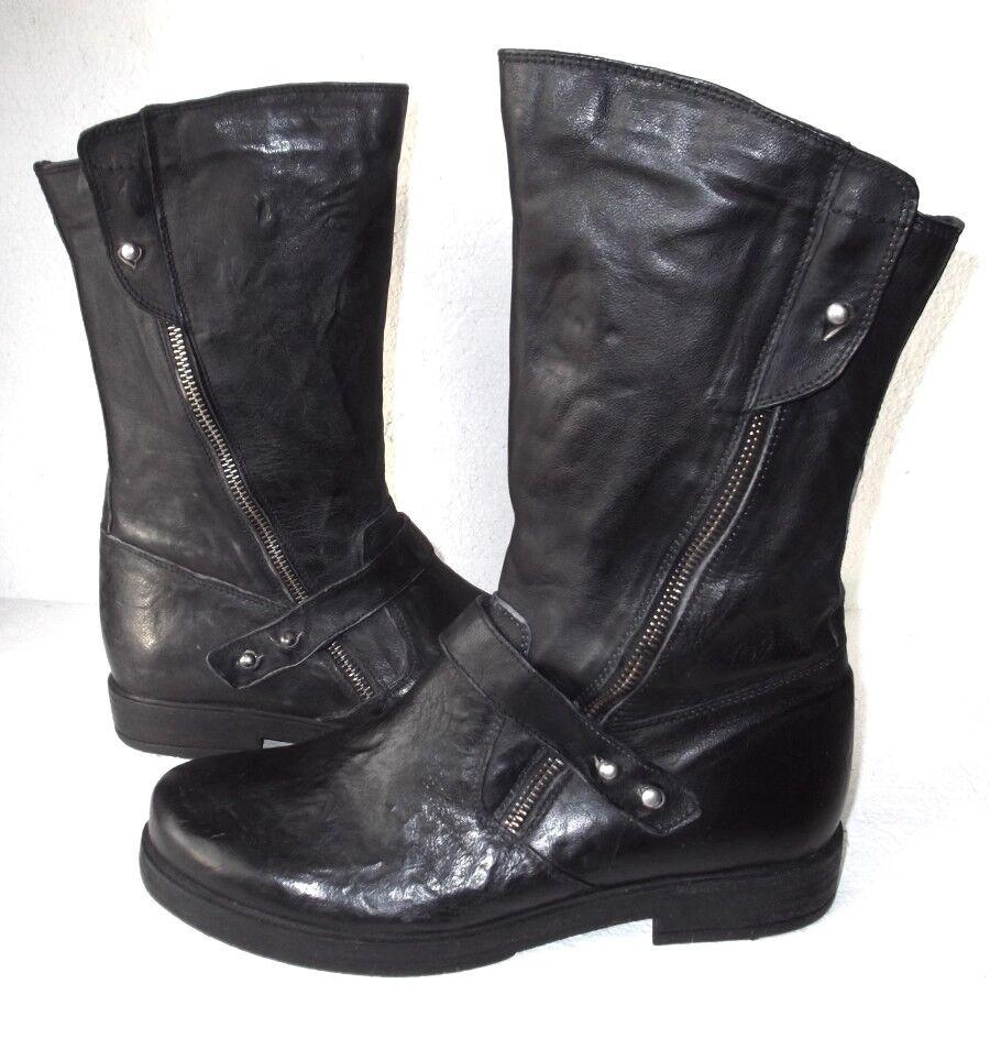 Nuevo chantaje con aspecto envejecido envejecido Negro Cuero Biker Goth botas Forro de mariposa.