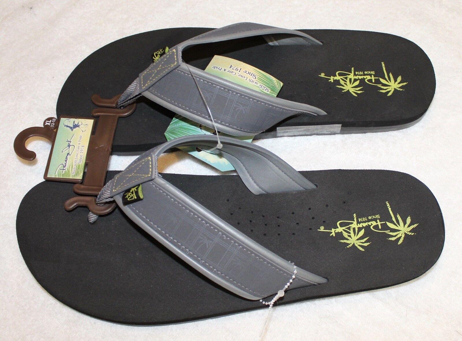 Panama Jack Mens Gray Canvas Size Leather Flip-Flops Sandals NWT Size Canvas L 10-11 5054c8