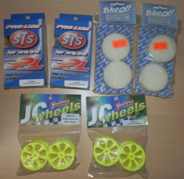 1/10 Fastrax 24 Mm 7 Spoke Jaune Roue + Proline Slick Pneu Ensemble Neuf